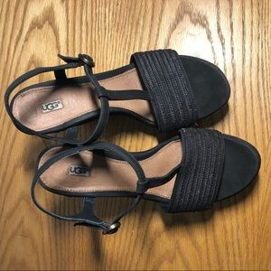 UGG Shoes - UGG Fitchie T Strap Wedge Sandals Black W 7